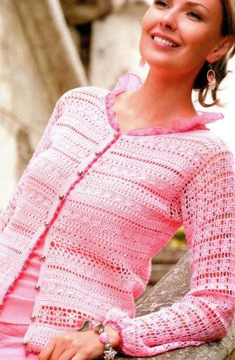 Розовая кофточка (вязание