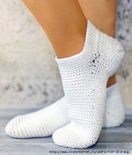 Как связать полу носки крючком