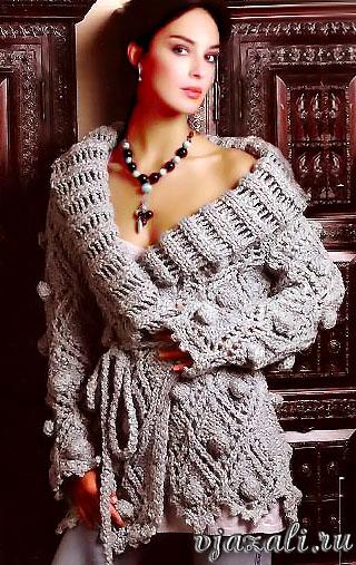 Вязание кардигана спицами