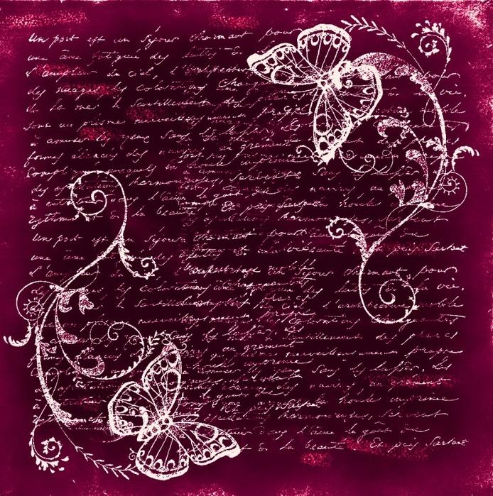 fondo vintage. terciopelo rojo. mariposas (694x700, 461Kb)