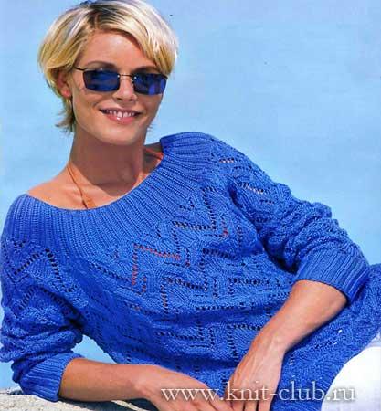 http://www.knit-club.ru/modeli/539-vyazanyy-sviter.html.  Пуловер.  Красивый, ажурный вязанный спицами свитер с...
