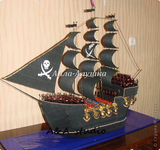 Корабль из конфет как сделать