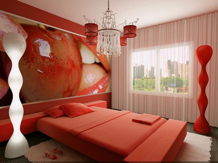 Комната в красном цвете фото