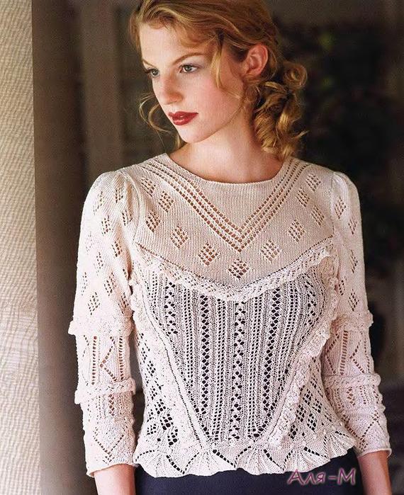 Ажурные блузы вязаные спицами