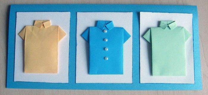 Открытки ручной работы, 23 февраля, рубашки оригами Home & Work