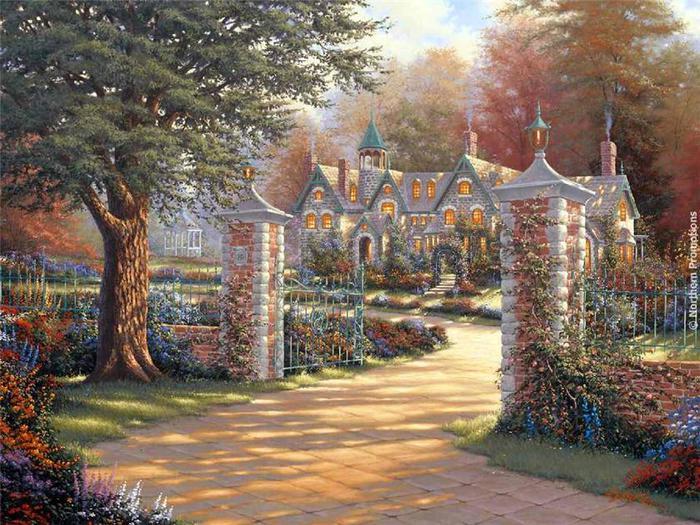 Скачать обои пейзаж, лето, домик в саду, Derk Hansen 800x600.