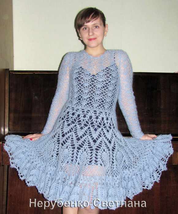 Голубое мохеровое платье_1