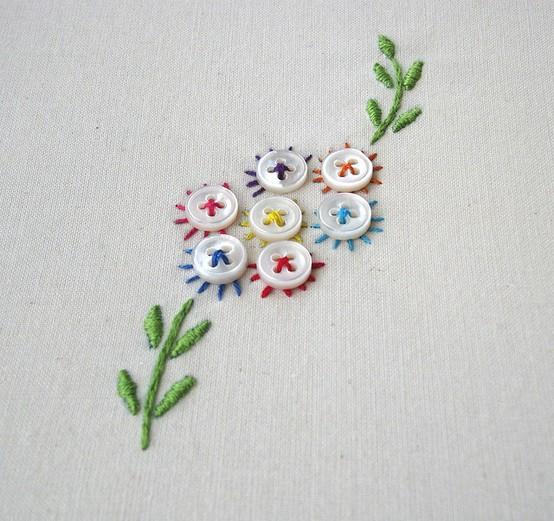 Вышивка с пуговицами для детей