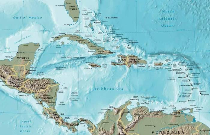 Карта Карибского моря (700x451, 51Kb)