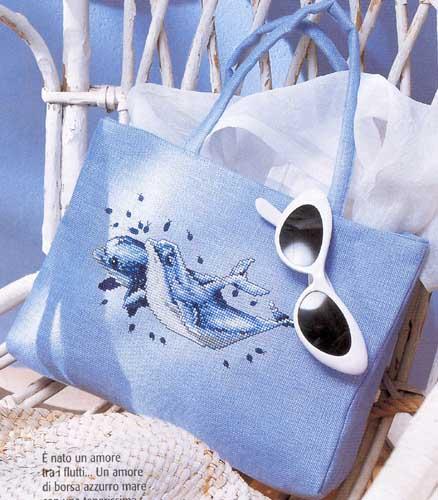 сумка с дельфинами(вышивка