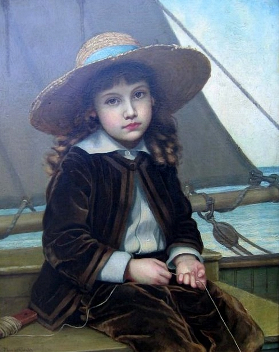 Phoebe Jenks (1847 – 1907, American)child-in-fishing-boat (555x700, 254Kb)