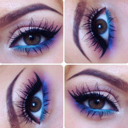 Темно синий макияж