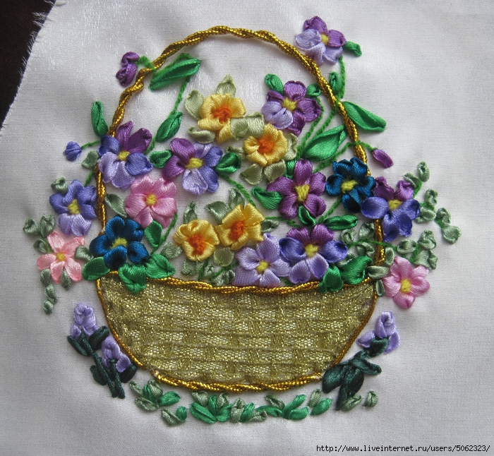 Вышивка лентами вышивка корзины 33