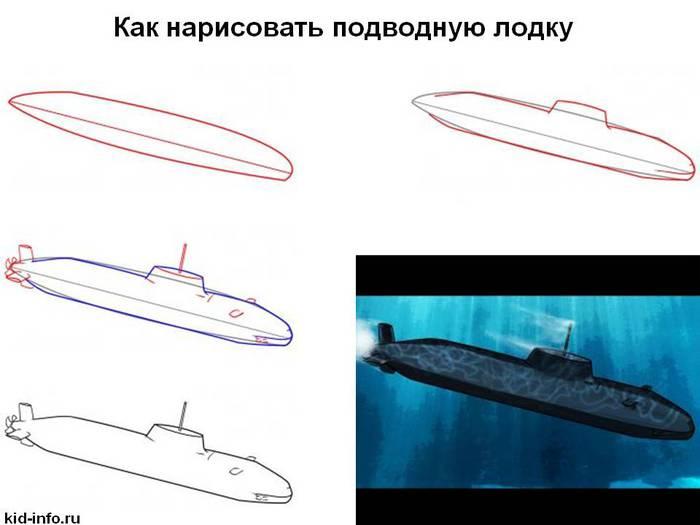 как нарисовать подводную лодку с детьми