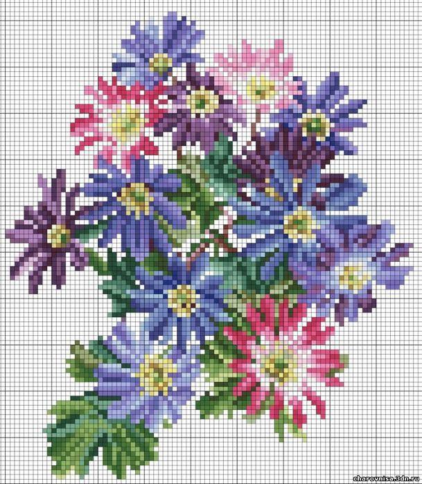 Вышивка цветов и букетов крестиком 757