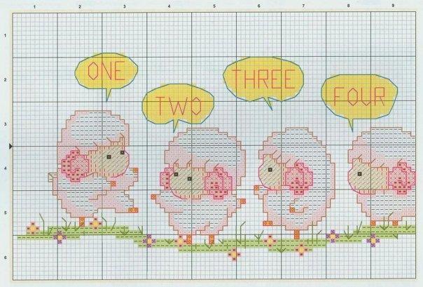 Схемы вышивки крестом-овечки