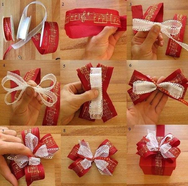 Бантик из подарочной ленты своими руками