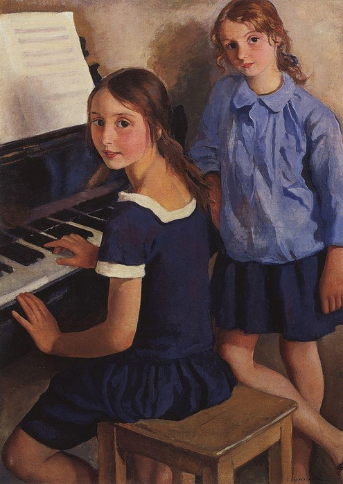 Girls at the piano (Tata and Katya), 1922. Zinaida Serebriakova (Russian, Art Nouveau, 1884-1967). (495x700, 267Kb)