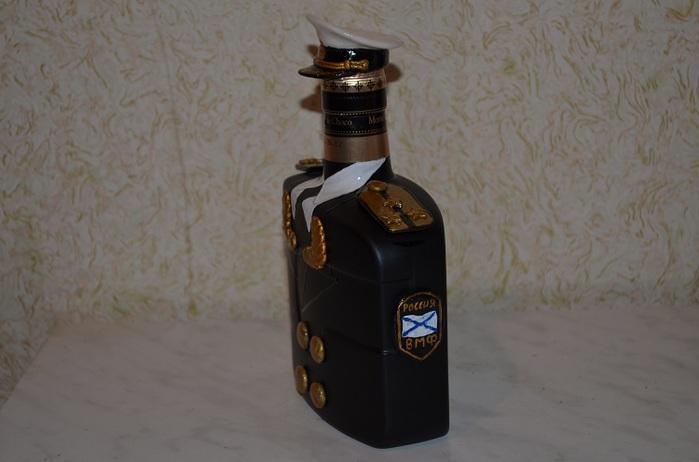 Как украсить бутылку коньяка своими руками к