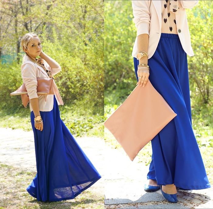 Чем носить синюю длинную юбку