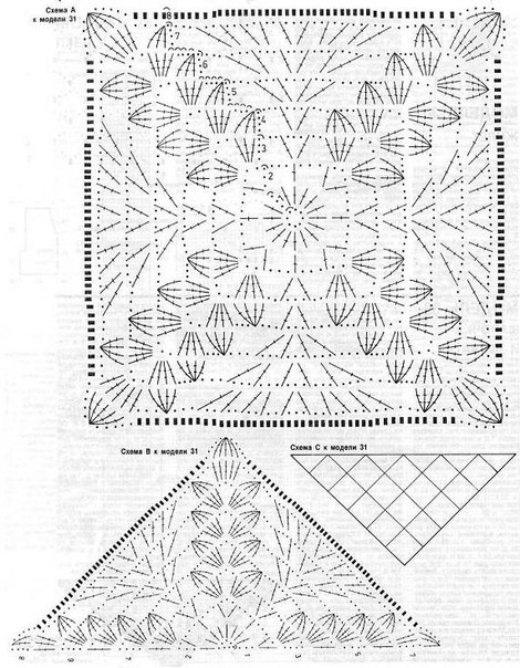 Вязание квадратов для шали крючком 448