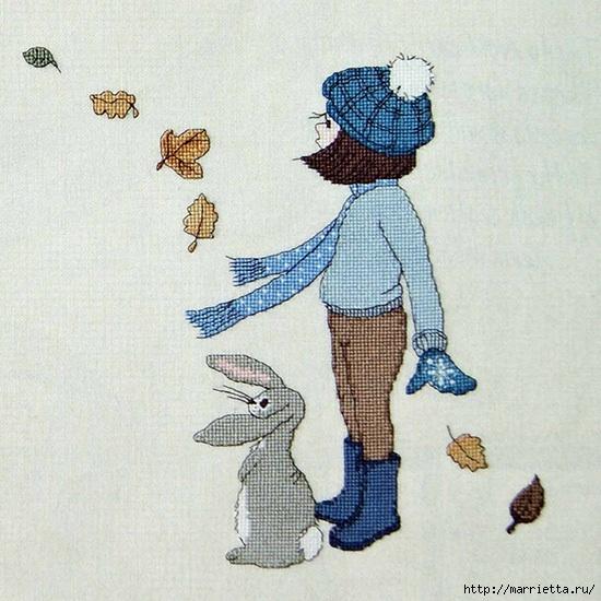 Вышивка девочка с кроликами
