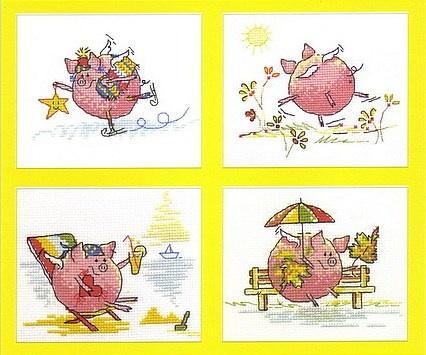 Свинки времена года.