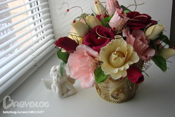 Цветы в горшке из конфет своими руками 161
