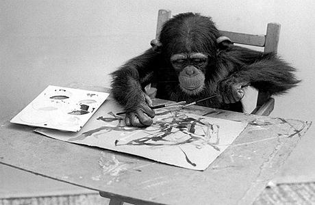 шимпанзе рисует (460x300, 110Kb)