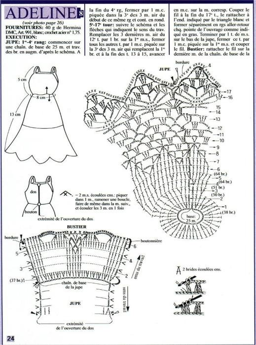 Схема вязания платья для барби крючком схемы