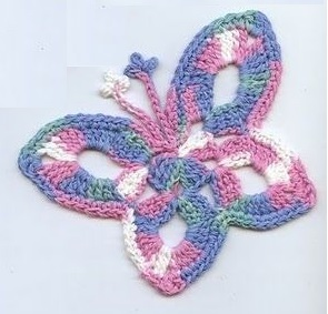 Схемы вязания игрушек - бабочка.  Это не совсем игрушка, скорее аппликация для украшения детской одежды.
