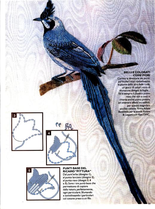 Схема вышивки птицы гладь 84