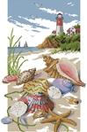 Описание: Схема вышивки крестом - Маяк и Ракушки в формате xsd.  0. Морская Тематика.  Альбом.