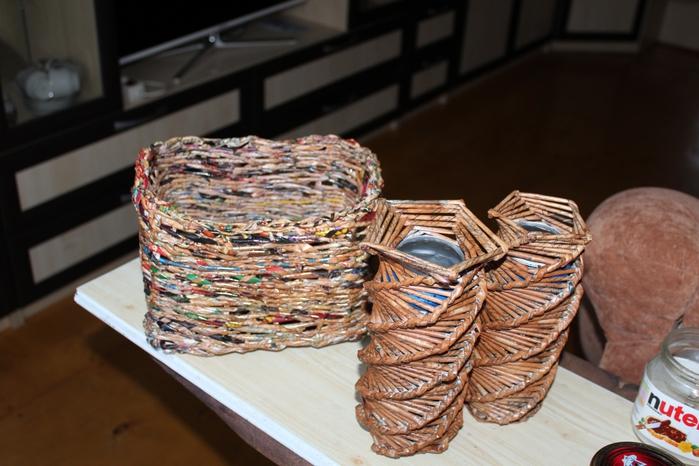 Плетение из газетных трубочек. мои работы