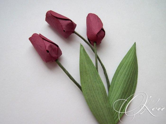 Цветок тюльпан из бумаги