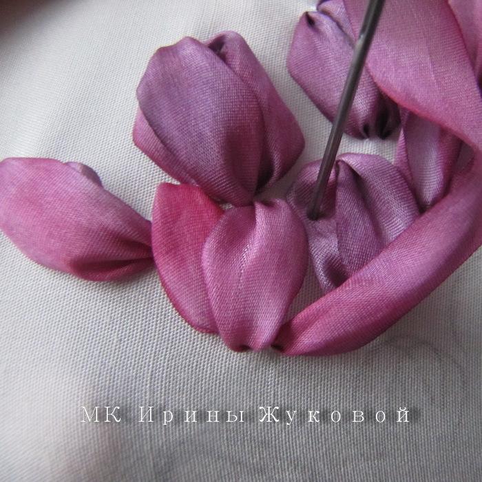 Вышиваем тюльпан лентами мастер класс