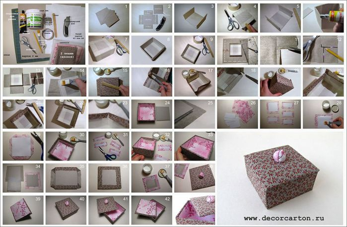 Шкатулка из картона и ткани своими руками схема