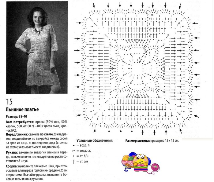 Платье из квадратных мотивов крючком со схемами