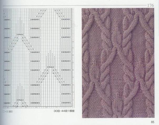 Вязание крупные ромбы спицами и жгуты красивые переплеты 20