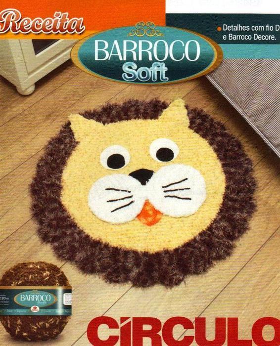 Delicadezas en crochet gabriela alfombra infantil con for Alfombras de pompones infantiles