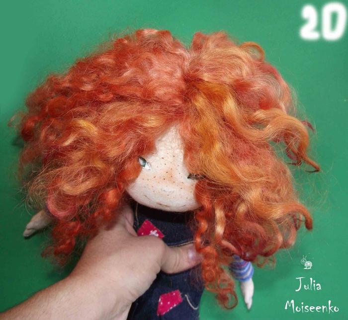 Как сделать локоны кукле из шерсти для валяния