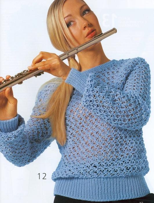 Вязание спицами ажурный джемпер 7