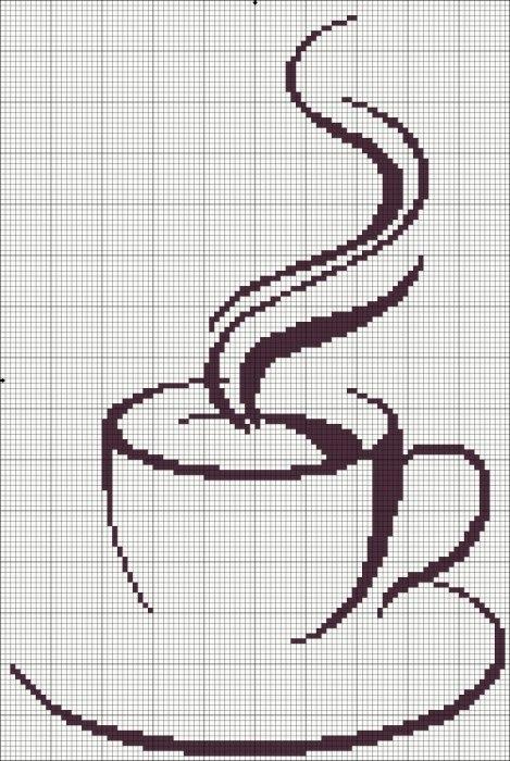 Чашка кофе. вышивка крестом.