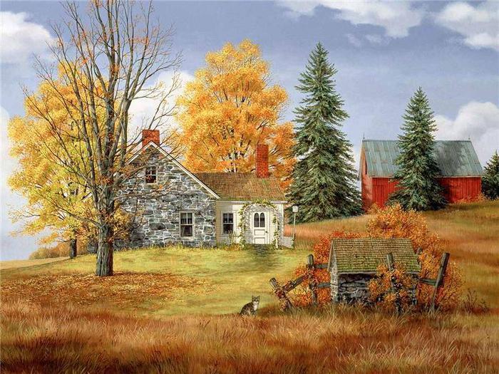 """Оригинал схемы вышивки  """"Осенний пейзаж """".  Осенний пейзаж, пейзаж, дом, цветы, дизайн, природа, осень, времена года."""