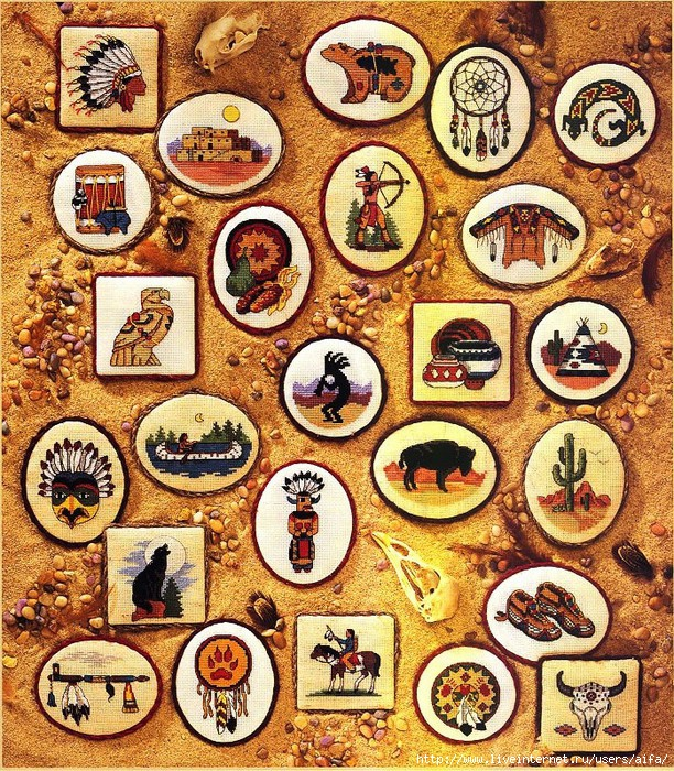 Индейские мотивы- мини вышивка