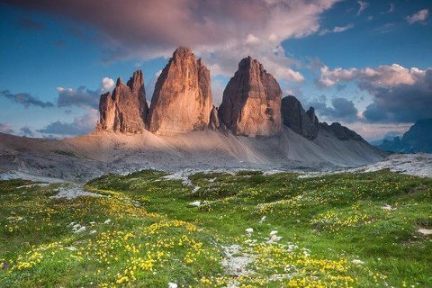Три пика, Доломитовые Альпы, Италия (480x320, 50Kb)