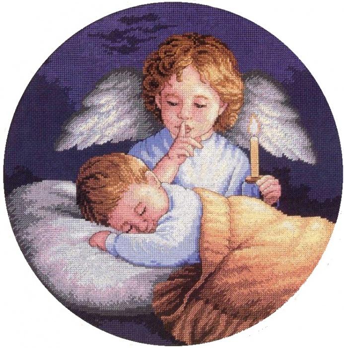Наборы для вышивания 62 - 03873 Ангел-хранитель.  В наборы для вышивания входят: канва, игла, нитки мулине и схема.