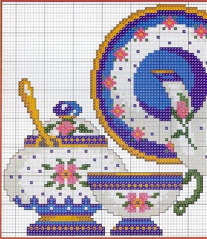 Схема вышивки крестом чайного сервиза