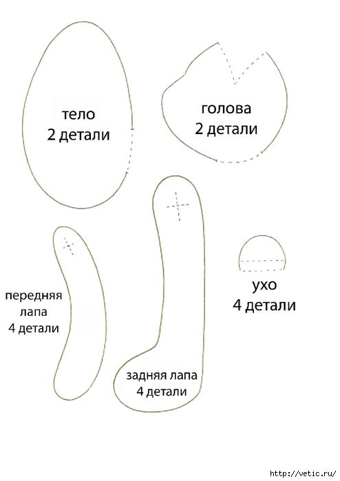 выкройка мишки тильда (494x700