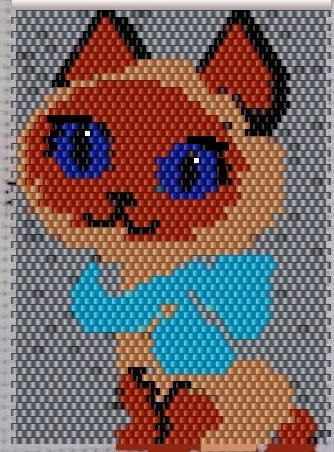 котёнок гав из бисера, котёнок из бисера, котёнок из бисера схема.